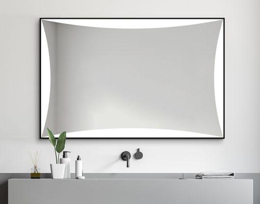 Designerskie Lustro Z Czarną Ramą Reny LED