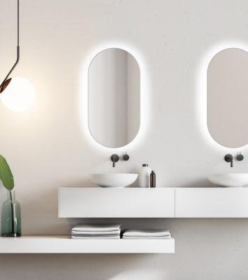 Lustro owalne do łazienki - Simple Koria LED