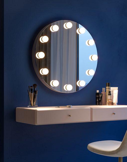 Okrągłe Lustro Z Lampkami LED Glori